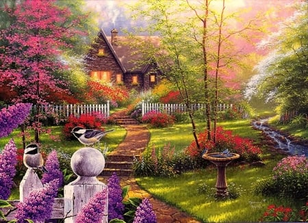 Secret garden cottage, by Abraham Hunter - Abraham Hunter, cottage, bird, flower, painting, garden