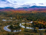 Meaning rivers and oxbow lakes. Fall in the Adirondack Mountains, NY