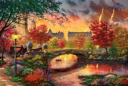 Vintage autumn in Central Park. NY - painting, tree, river, autumn, sunset