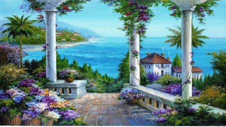 Beautiful view - painting, flower, horizon, sea