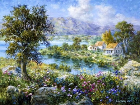 Enchanted Cottage - house, flowers, nature, river, trees, clouds, sky, artwork, painting