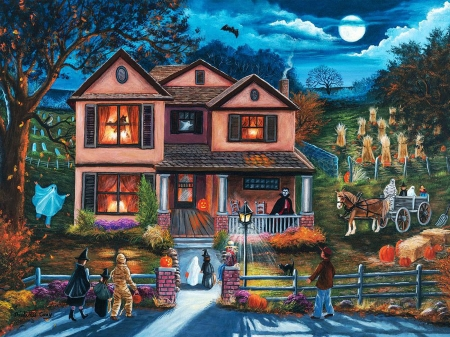 Yesterday's Halloween - people, horse, clouds, night, costumes, house, cart, artwork, moon, ghost, digital, field