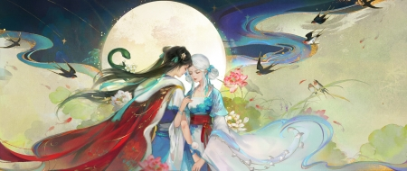 Moon sisters - spring, frumusete, luna, luminos, swallow, moon, fantasy, lightwing academy, girl, bird, sister, couple