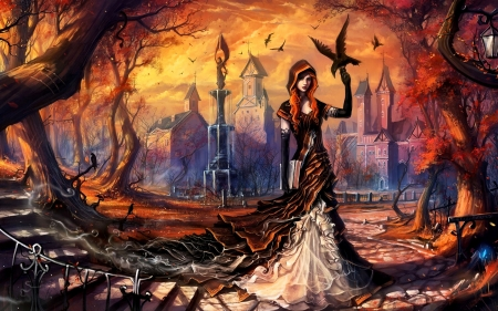 Halloween eve - art, raven, girl, buildings, digital