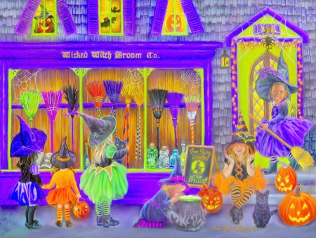 Witches Broom Shop - drawing, shop, art, little, witches, work, broom
