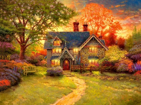 Sunset - sunset, cottage, eve, autumn, tree, painting
