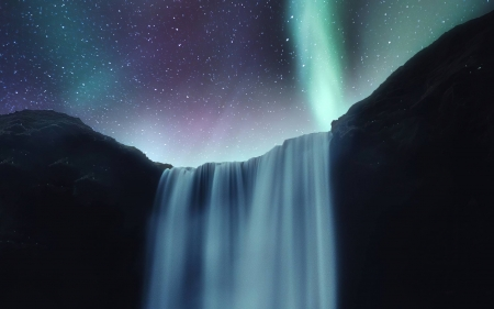 Waterfall Under Northern Lights - nature, Waterfall, space, stars, cool, fun