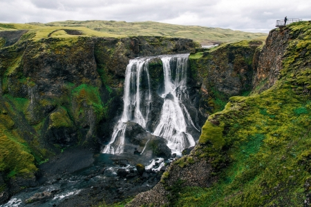 Fagrifoss Waterfall, Iceland - waterfall, nature, iceland, valley