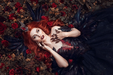 Dark queen - flower, black, red, dress, rose, redhead, model, queen, woman, girl, dark, jewel