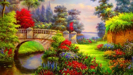 Bridge painting - flower, painting, river, bridge