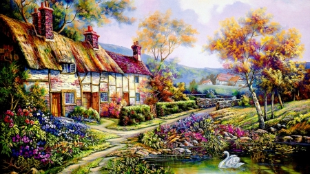 Countryside cottage - flower, cottage, swan, lake, painting