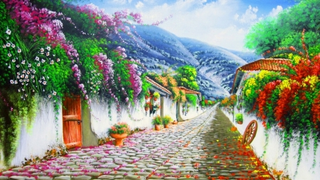 Cobblestone hill - painting, village, road, street, flower