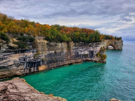 Autumn at Pictured Rocks - Munising, MI - sea, coast, arch, cliff, trees, clouds, sky