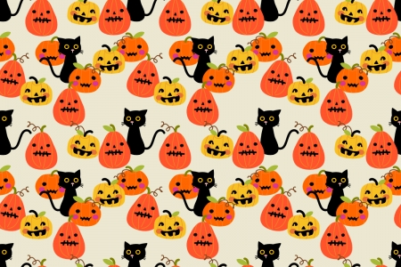 Texture - orange, texture, halloween, pumpkin, paper, pisici, cat, pattern, yellow, black