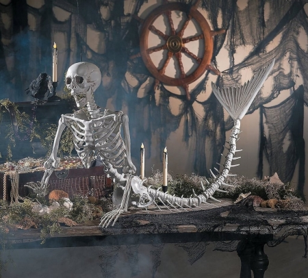 Tropical Halloween Decor - deco, skeleton, halloween, mermaid, siren, funny, bones, skull