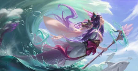 Nami - lol, frumusete, luminos, nami, fantasy, dorothy shan, water, girl, green, purple, pink, blue