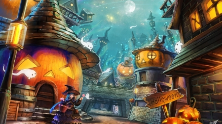 Halloween Village - digital, art, huts, pumpkins