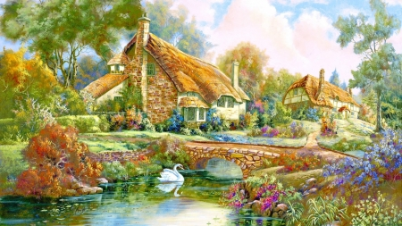Cottage - painting, swan, cottage, lake, tree