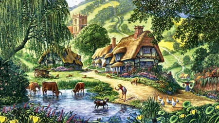 Country life - painting, farm, tree, cottage, horse