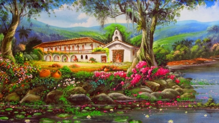 Country chapel - painting, flower, chapel, church