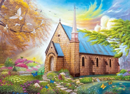 Serenity church - flower, painting, chapel, church, dove