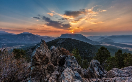 Sunrise over Rocky Mountains - rocks, America, sunrise, mountains, national park