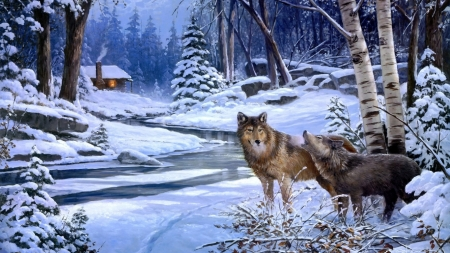 Wolves creek - painting, predator, wolf, snow