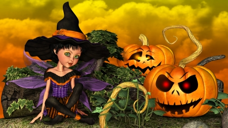 Pixie Witch - fantasy, holiday, pumpkin, halloween, cartoon, fairy, witch, jack o lantern, pixie, pumpkin patch