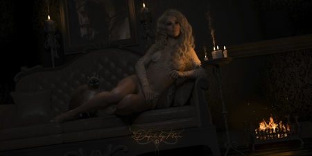 Countess of Shadowfield Manor - candle, countess, fantasy, girl, dark, 3d art by mir, 3dartbymir, night