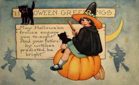 Happy Halloween! - fantasy, orange, girl, pumpkin, vintage, card, witch, black, cat, retro