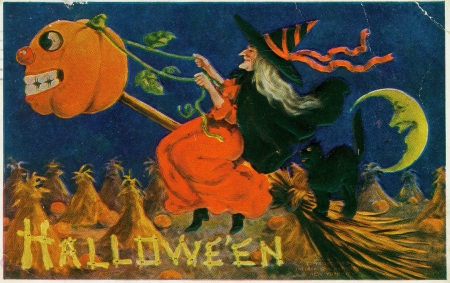 Happy Halloween! - fantasy, halloween, black, cat, vintage, card, witch, orange, retro, pumpkin