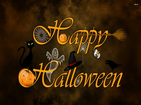 :) - ghost, orange, pumpkin, halloween, black, cat, word, card