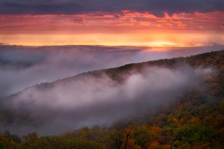 Fall taking hold in Shenandoah National Park - autumn, mountains, colors, sunset, clouds, fall colors, sky, mist