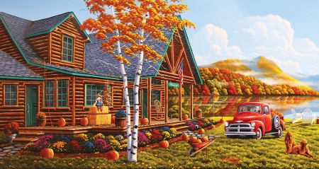 The Pleasures of Fall - car, colors, cabin, river, trees, reflections, pumpkins, autumn, artwork, painting