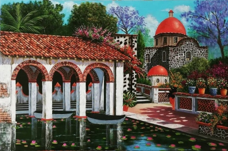 Mexican Buildings - architecture, pond, flowers, painting, church, artwork