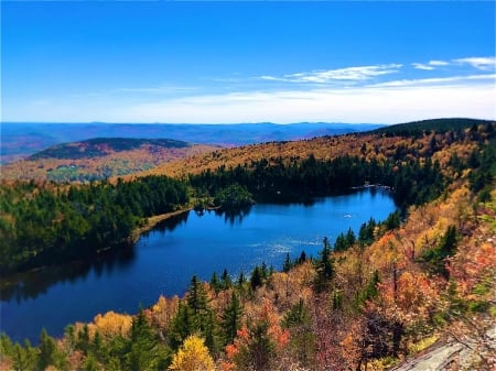 Solitude Lake from the White Ledges, Mount Sunapee, New Hampshire - water, trees, reflections, fall, colors, sky