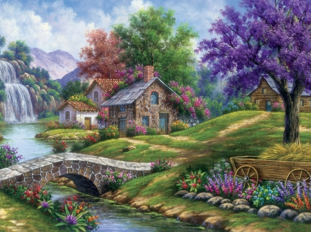 By Arturo Zarraga - river, bridge, Arturo Zarraga, tree, cottage, painting