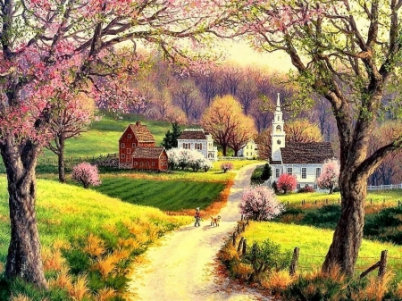 Country spring - painting, tree, chapel, road