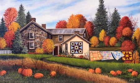 Autumn Home - pumpkins, Fall, colorful, seasonal, autumn, quilts, House, trees
