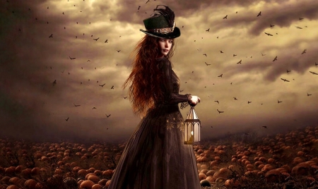 Gothic Lady With a Lantern - Lady, autumn, brown, halloween, Pumpkins, eerie, Fantasy, Gothic, gothic