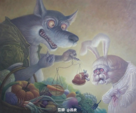 Market - user5278, rabbit, fantasy, luminos, wolf, funny, bunny, market, lup