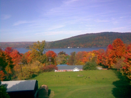 Keuka Lake in New York - Foilage, Beautiful, Water, View, Mountains, Rust, Clouds, Lake, Autumn, Blue, Gold, Beautiful Landscape, Trees, Red, Hillside, Sky, Orange, Home, Leaves