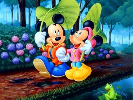 mickey and minnie mouse - park, minnie, mickey, mouse