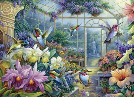 Antique Greenhouse - hummingbirds, fountain, painting, flowers, blossoms, colors