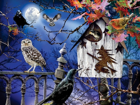 Halloween birdhouse - art, fence, moon, raven, leaves, digital, owls, night