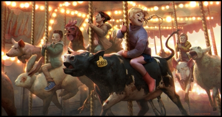Carousel - carousel, copil, children, animal, cow, rabbit, sheep, jana schirmer, bunnt, fantasy, boy, girl