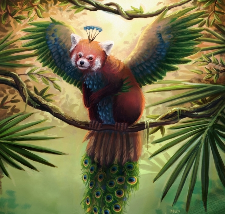 Winged red panda - red panda, fantasy, wings, luminos, feather, peacock, ann marie rechter, animal