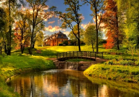 Country house in fall - fall, autumn, river, bridge, house