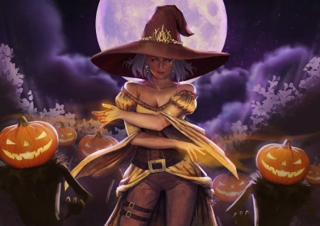 Magic pumpkins - hat, art, witch, vicky hikari, luna, orange, luminos, halloween, moon, fantasy, girl, purple, pumpkin