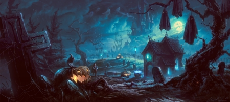 spooky night - castle, pumpkin, halloween, graveyard, man, trees